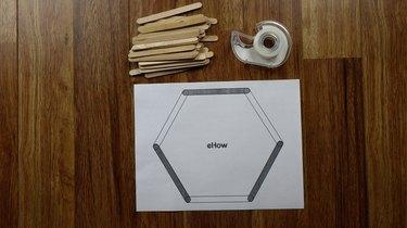 Printed popsicle stick hexagon shelf template