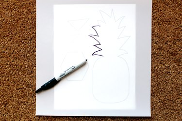 Trace printable with permanent marker and stencil paper    how to make a pineapple doormat