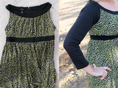 Before and after picture of adding sleeves to a dress