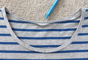 Mark the center of the neckline with a washable marker.