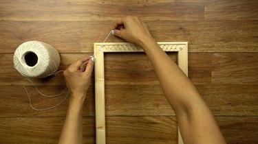 Warping DIY simple frame loom.