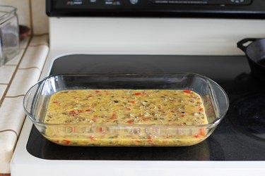 Egg mixture inside a casserole dish