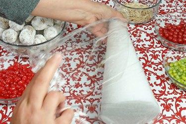 Wrap a Styrofoam cone in plastic wrap