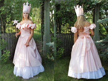 Front and back views of Glinda the Good Witch costume.