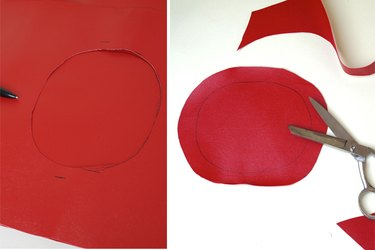 tracing and cutting out a circle 1 inch bigger than neck hole