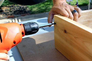 drill deck screws two per corner | how to make an elevated planter box