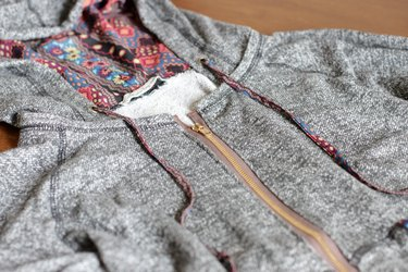 finished sweatshirt zipper