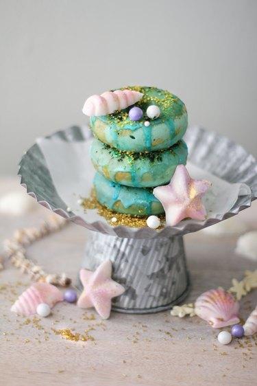 Mermaid matcha donuts