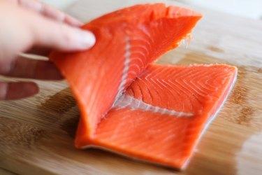 Open salmon fillet.