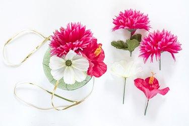 silk flowers foam