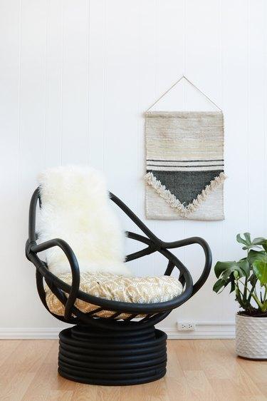 black rattan chair makeover