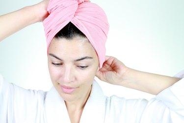 Woman wearing a hair wrap