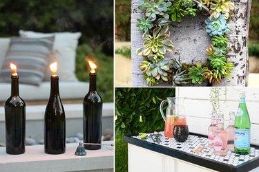 tiki torches, a succulent wreath, and a bar cart.