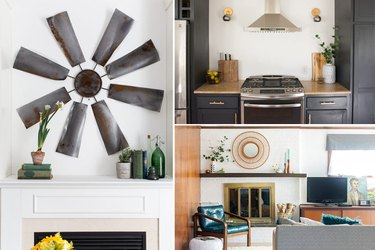 A windmill art piece, wall sconces, and a painted fireplace.