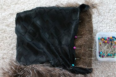 Fold over and pin short edges with fur sides together.
