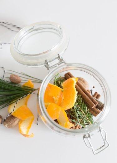 Stovetop potpourri ingredients in jar