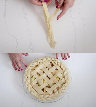 Braiding strips of dough