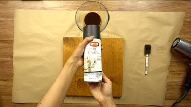 Acrylic spray for instant coffee wood stain.