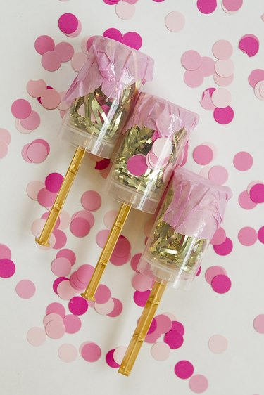 Crepe paper covered confetti poppers