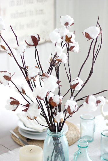 Faux coton branch centerpiece closeup