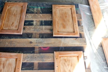 wipe with damp cloth and lay doors and drawers out | How to Paint Oak Bathroom Cabinets