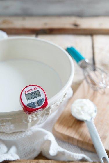 Cooling milk for homemade Greek yogurt