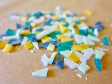 Cut glass tile pieces for DIY modern terrazzo coasters