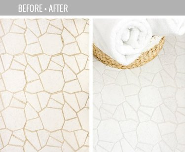 Before and after white grout and white tile