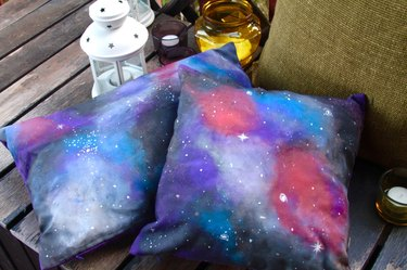 Finished galaxy-themed cushion covers.