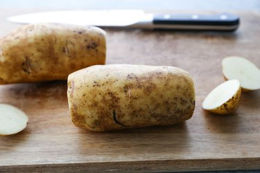 two potatoes with ends cut off