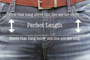 diagram showing perfect length for untucked men's shirt
