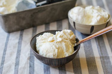 Two bowls of homemade vanilla ice cream