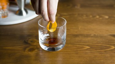 Adding orange peel to the glass