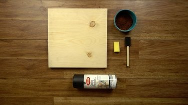 Materials for easy way to stain wood with coffee.