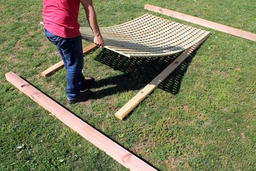lay out lattice and wood boards