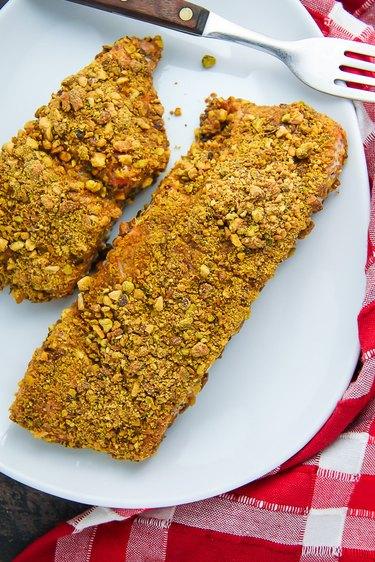 Baked pistachio crusted salmon ready to be served.