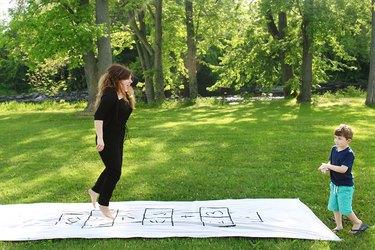 mother child portable hopscotch board picnic