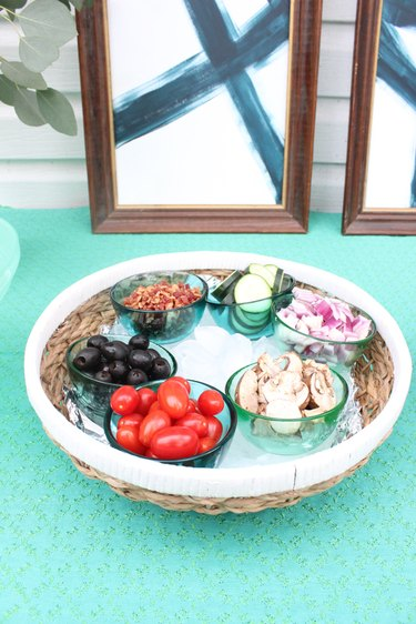 Small bowls layered inside a basket are a great serving option.