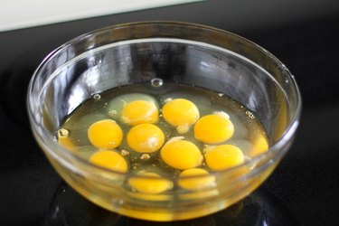 Eggs in a large bowl