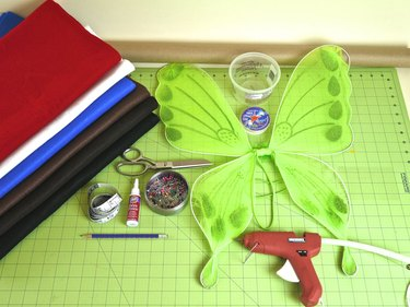 The supplies needed for a flying monkey costume.