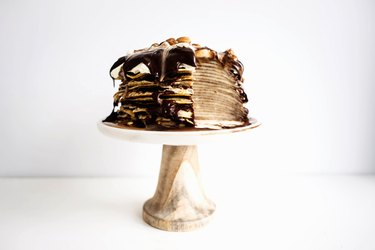 A finished Dark Chocolate and Caramel Crepe Cake.