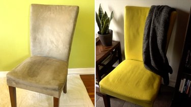 Before and after painting fabric upholstery with chalk paint.