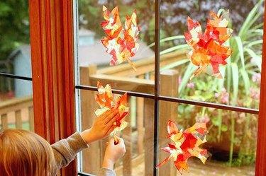 Sun catchers displayed in sunny window
