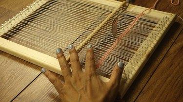 Weaving on DIY simple frame loom.