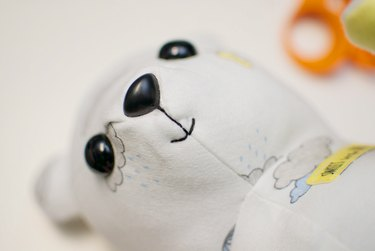 embroidered mouth on teddy bear