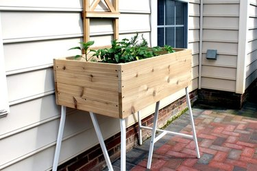 A raised cedar planter box against the wall of a house