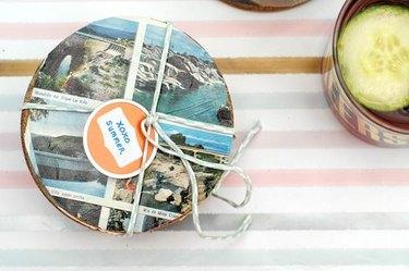 3. travel postcard coasters