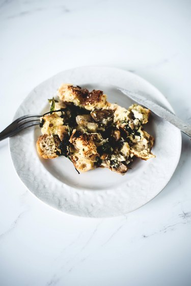 This overnight Mushroom and Spinach Strata is comforting, home-ly and so easy to prepare.