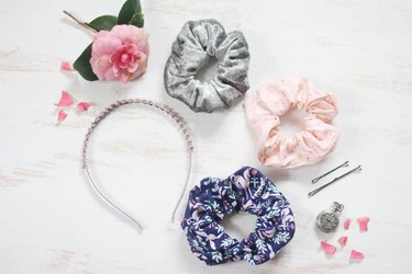 Three finished scrunchies