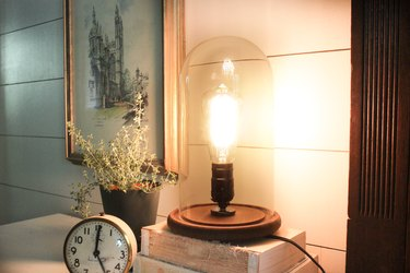 Industrial lamp turned on